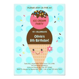 Fiesta de cumpleaños del cono de helado invitación 12,7 x 17,8 cm