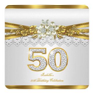 Fiesta de cumpleaños del cordón del oro de la invitación 13,3 cm x 13,3cm