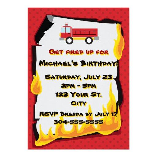 Fiesta de cumpleaños del cuerpo de bomberos invitaciones personalizada