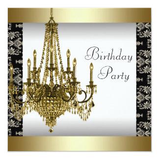 Fiesta de cumpleaños del damasco del negro de la invitación 13,3 cm x 13,3cm