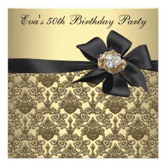 Fiesta de cumpleaños del damasco negro del oro 50 anuncios