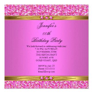Fiesta de cumpleaños del diamante del oro del invitación 13,3 cm x 13,3cm