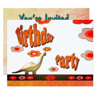 Fiesta de cumpleaños del dinosaurio invitación 10,8 x 13,9 cm
