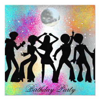 Fiesta de cumpleaños del disco de la danza invitación 13,3 cm x 13,3cm
