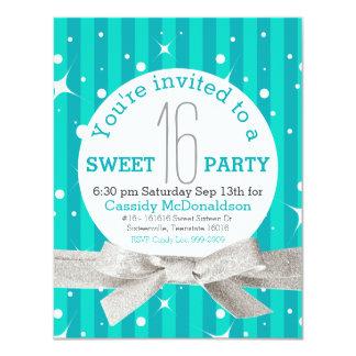 Fiesta de cumpleaños del dulce 16 de las azules invitacion personal