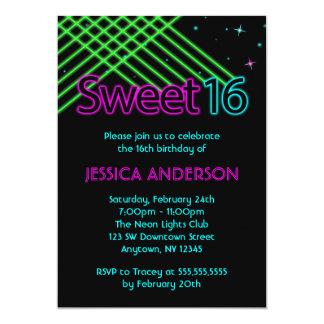 Fiesta de cumpleaños del dulce 16 de las luces de invitación 12,7 x 17,8 cm