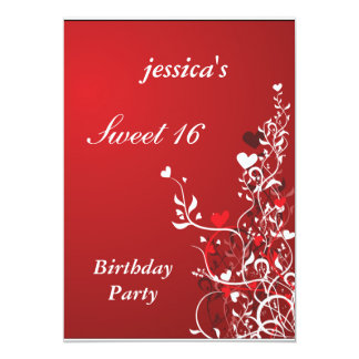 Fiesta de cumpleaños del dulce 16 del rojo y de invitación 12,7 x 17,8 cm