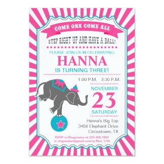 Fiesta de cumpleaños del elefante del circo invitación 12,7 x 17,8 cm