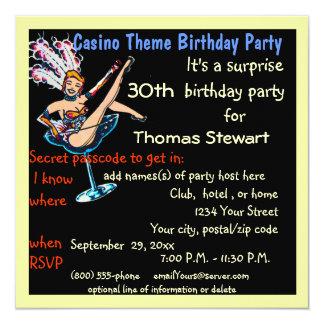 Fiesta de cumpleaños del estilo del casino de invitación 13,3 cm x 13,3cm