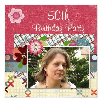 Fiesta de cumpleaños del estilo del libro de invitación 13,3 cm x 13,3cm