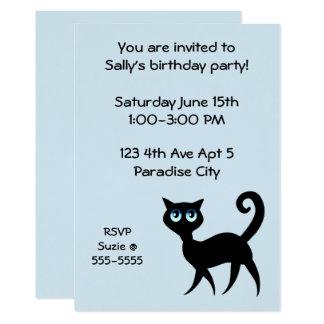 Fiesta de cumpleaños del gato azul y negro invitación 12,7 x 17,8 cm