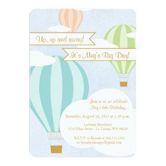 Fiesta de cumpleaños del globo del aire caliente invitación 12,7 x 17,8 cm