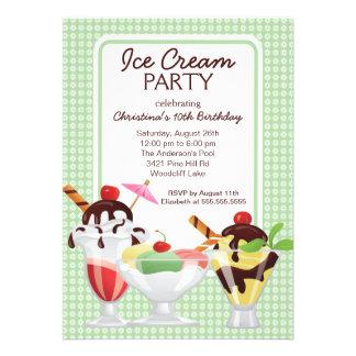 Fiesta de cumpleaños del helado del helado invitaciones personalizada