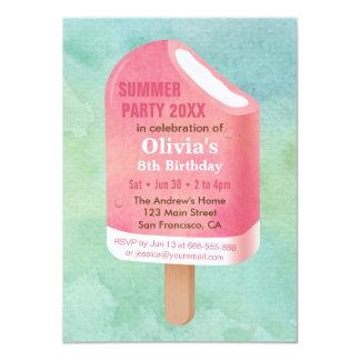 Fiesta de cumpleaños del helado del Popsicle del Invitación 11,4 X 15,8 Cm
