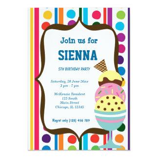 Fiesta de cumpleaños del helado invitación 12,7 x 17,8 cm