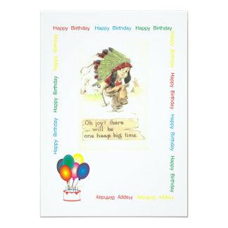 Fiesta de cumpleaños del jefe indio invitación 12,7 x 17,8 cm