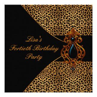 Fiesta de cumpleaños del leopardo de la mujer 40 a comunicados personalizados