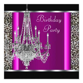 Fiesta de cumpleaños del leopardo de las rosas invitación 13,3 cm x 13,3cm