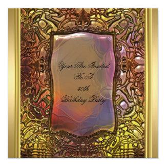 Fiesta de cumpleaños del libro antiguo del oro del invitación 13,3 cm x 13,3cm