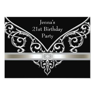 Fiesta de cumpleaños del negro de la mujer 21ra invitación 12,7 x 17,8 cm