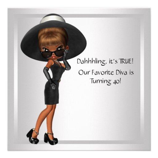 Fiesta de cumpleaños del negro de la mujer preferi invitacion personalizada