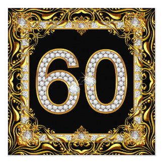 Fiesta de cumpleaños del negro del diamante del invitación 13,3 cm x 13,3cm