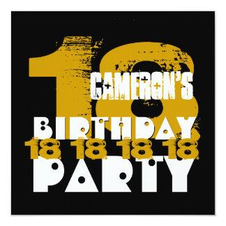 Fiesta de cumpleaños del NEGRO del ORO décimo Invitación 13,3 Cm X 13,3cm