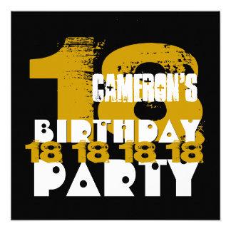 Fiesta de cumpleaños del NEGRO del ORO décimo octa Invitación Personalizada