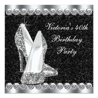 Fiesta de cumpleaños del negro elegante de la invitación 13,3 cm x 13,3cm