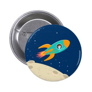 Fiesta de cumpleaños del niño del astronauta chapa redonda de 5 cm