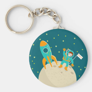 Fiesta de cumpleaños del niño del astronauta llavero redondo tipo chapa