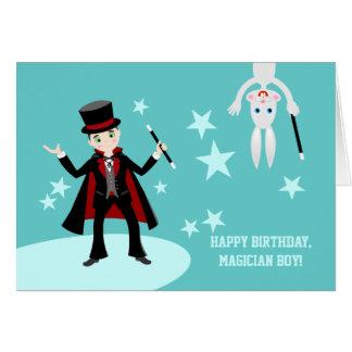 Fiesta de cumpleaños del niño del mago tarjeta de felicitación