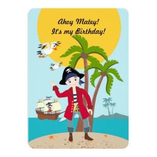 Fiesta de cumpleaños del niño del pirata invitación 12,7 x 17,8 cm