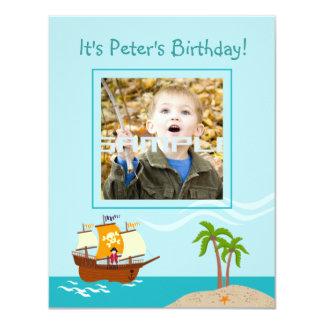 Fiesta de cumpleaños del niño del pirata invitación 10,8 x 13,9 cm