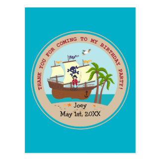 Fiesta de cumpleaños del niño del pirata postal