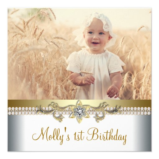 Fiesta de cumpleaños del oro bonito y de la foto b comunicado personalizado