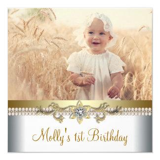 Fiesta de cumpleaños del oro bonito y de la foto comunicado personalizado