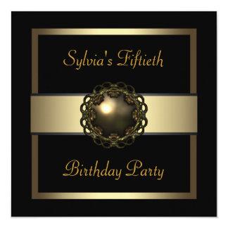 Fiesta de cumpleaños del oro de la mujer 50.a invitación 13,3 cm x 13,3cm