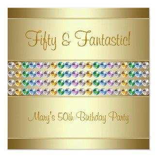 Fiesta de cumpleaños del oro de la mujer 50.a invitacion personalizada