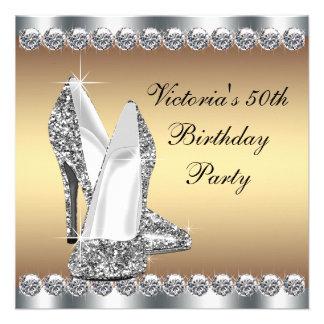 Fiesta de cumpleaños del oro de la mujer 50 a anuncio personalizado
