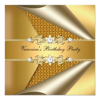 Fiesta de cumpleaños del oro de la mujer con clase invitación 13,3 cm x 13,3cm