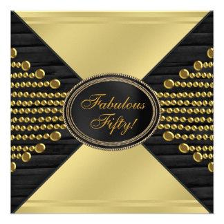 Fiesta de cumpleaños del oro de la mujer negra del comunicados personalizados