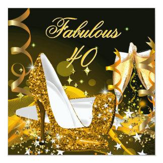 Fiesta de cumpleaños del oro de las 40 mujeres invitación 13,3 cm x 13,3cm