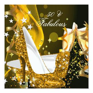 Fiesta de cumpleaños del oro de las 50 mujeres invitación 13,3 cm x 13,3cm