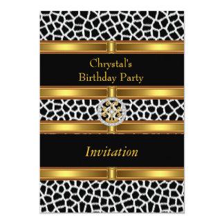 Fiesta de cumpleaños del oro del estampado de invitación 12,7 x 17,8 cm
