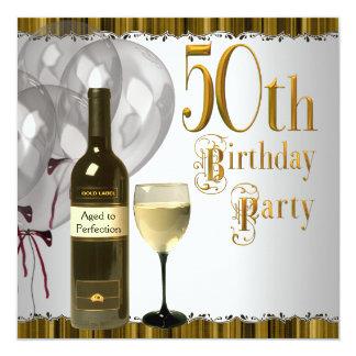 Fiesta de cumpleaños del oro del negro de la invitación 13,3 cm x 13,3cm