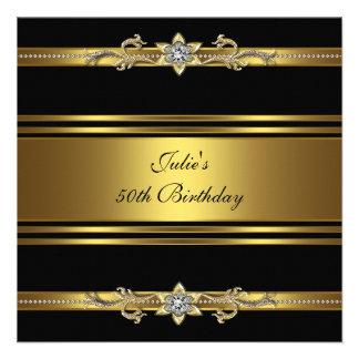 Fiesta de cumpleaños del oro negro de la mujer 50. comunicado personal
