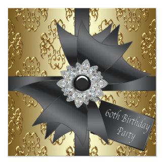 Fiesta de cumpleaños del oro negro de la mujer del invitación 13,3 cm x 13,3cm
