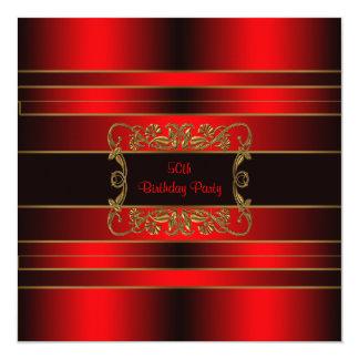 Fiesta de cumpleaños del oro rojo de la mujer 50.a invitación 13,3 cm x 13,3cm