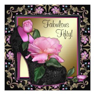 Fiesta de cumpleaños del oro rosado negro de la invitación 13,3 cm x 13,3cm